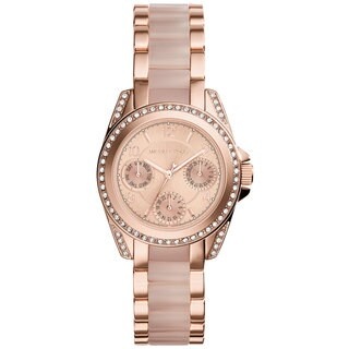 Michael Kors Women's MK6175 Mini Blair Multi-Function Rose-Tone Dial Rose-Tone Gold Stainless Steel Bracelet Watch - PInk