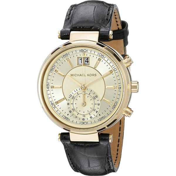 9f3d9bb34 Michael Kors Women's Sawyer Chronograph Diamond Gold Dial Black Leather  Watch