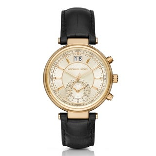 Michael Kors Women's Sawyer Chronograph Diamond Gold Dial Black Leather Watch