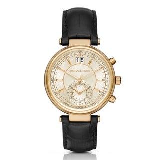 Michael Kors Women's Sawyer Chronograph Diamond Gold Dial Black Leather Watch