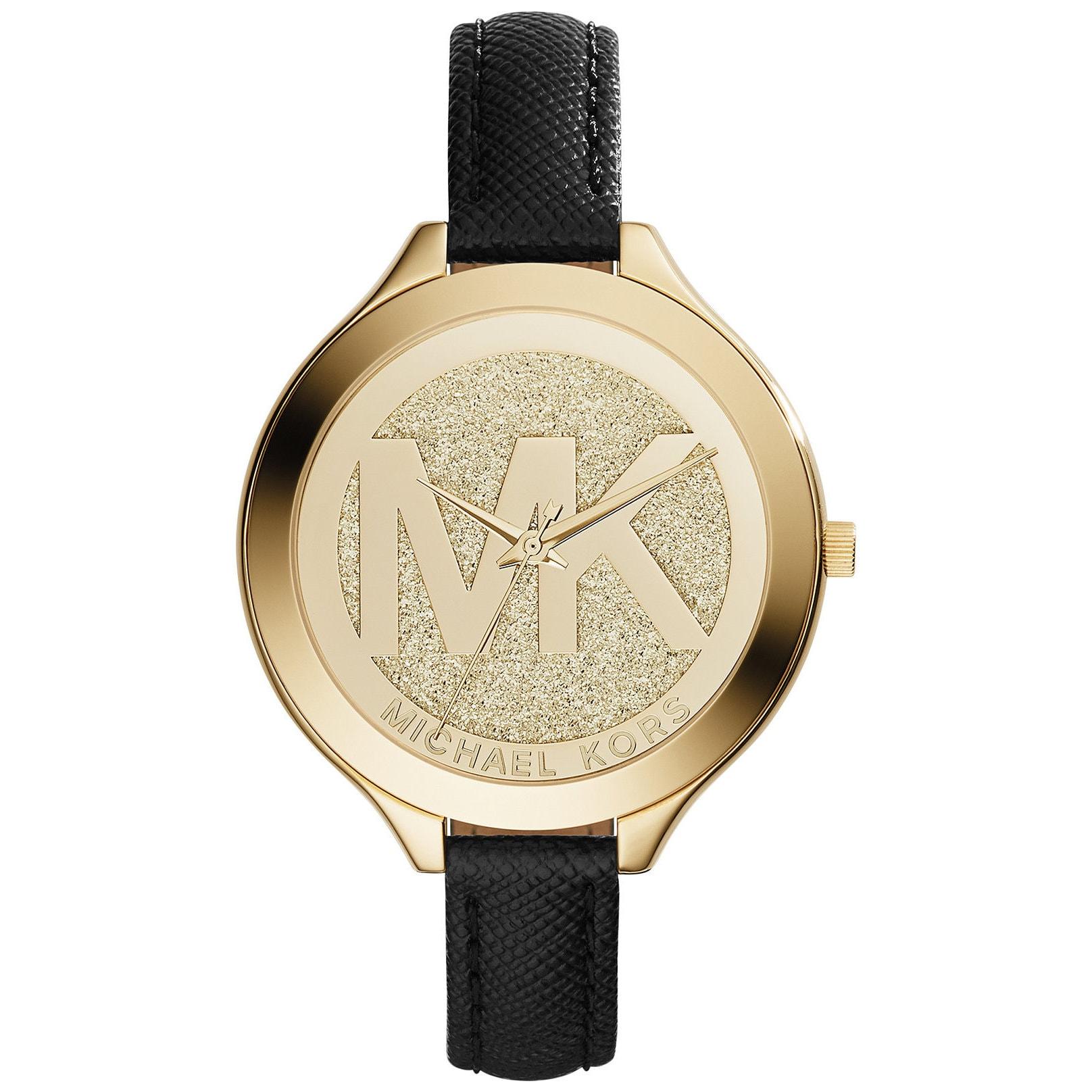 Michael Kors Womens MK2392 Slim Runway Gold Dial Black Leather Watch MK2392