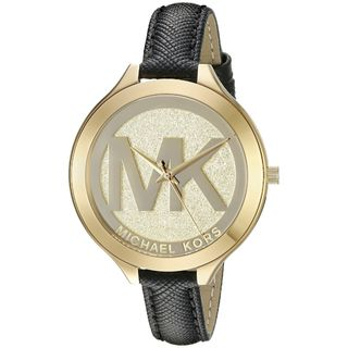 Michael Kors Women's MK2392 Slim Runway Gold Dial Black Leather Watch