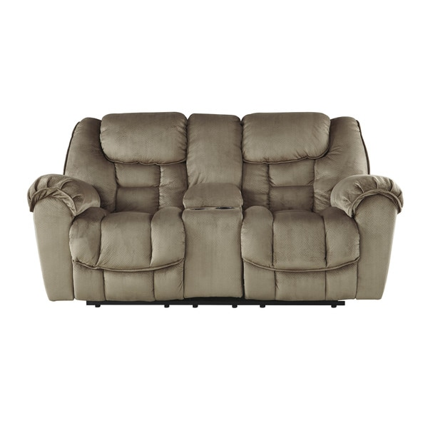 Shop Signature Design By Ashley Jodoca Driftwood Glider Recliner Loveseat With Console