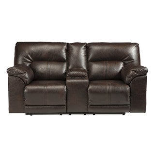 Signature Design by Ashley Barrettsville Durablend Chocolate Double Recliner Loveseat with Console
