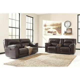 Signature Design by Ashley Barrettsville Durablend Chocolate Double Recliner Powered Loveseat with C