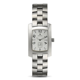 Croton Men's CN307186SSSL Stainless Steel Silvertone Rectangular Watch