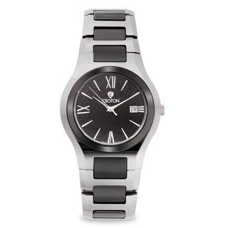 Croton Men's Ceramic Silvertone Date Watch - Silver