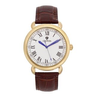 Croton Men's CN307532BRDW Stainless Steel Goldtone Leather Strap Watch