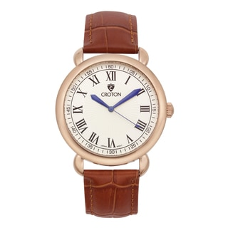 Croton Men's CN307532BRIV Stainless Steel Rosetone Leather Strap Watch