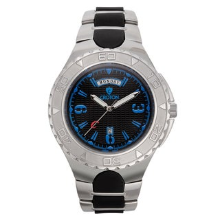 Croton Men's CA301287SSBL Stainless Steel Silvertone Silicon Strap Watch