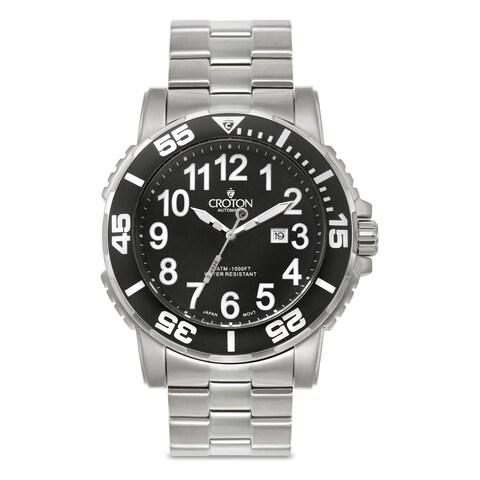 Croton Men's Stainless Steel Silvertone Rotating Bezel Watch - Silver