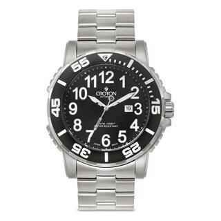 Croton Men's CA301280BKBK Stainless Steel Silvertone Rotating Bezel Watch