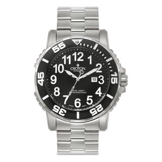 Croton Men's CA301280BKBK Stainless Steel Silvertone Rotating Bezel Watch