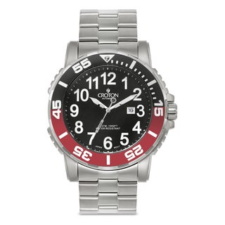 Croton Men's CA301280BKRD Stainless Steel Silvertone Rotating Bezel Watch