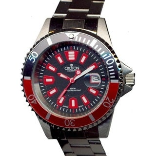 Croton Men's CA301282BKRD Stainless Steel Silvertone Rotating Bezel Watch