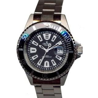 Croton Men's CA301282BKBK Stainless Steel Silvertone Rotating Bezel Watch