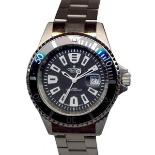 Croton Men's CA301282BKBK Stainless Steel Silvertone Rotating Bezel Watch