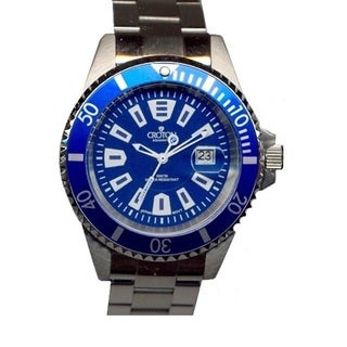 Croton Men's CA301282BUBL Stainless Steel Silvertone Rotating Bezel Watch
