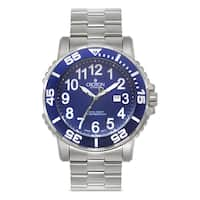 Croton Men's  Stainless Steel Blue Rotating Bezel Watch - Silver