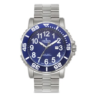 Croton Men's CA301280BUBL Stainless Steel Blue Rotating Bezel Watch