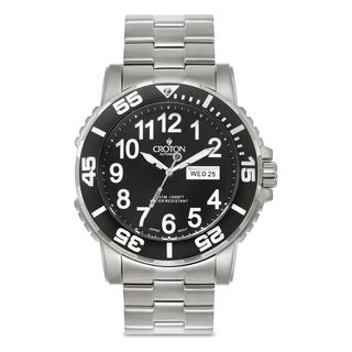 Croton Men's CA301281SSBK Stainless Steel Silvertone Luminous Hands Watch
