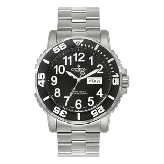 Croton Men's CA301281SSBK Stainless Steel Silvertone Luminous Hands Watch