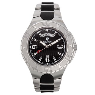 Croton Men's Stainless Steel Black Super C Watch - Silver
