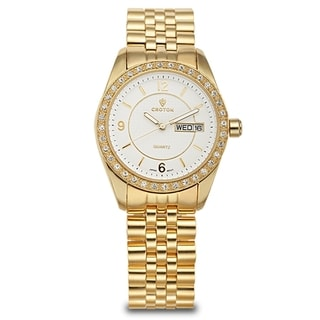 Croton Women's CN207279YLCR Stainless Steel Goldtone Crystal Bezel Watch