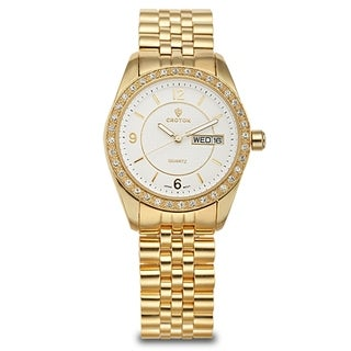Croton Women's CN207279YLCR Stainless Steel Goldtone Crystal Bezel Watch