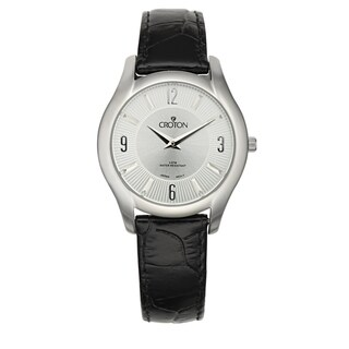 Croton Women's CN207501BSSL Stainless Steel Silvertone Leather Strap Watch