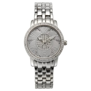 Croton Women's CN207420SSDI Stainless Steel Silvertone Diamond Case Watch