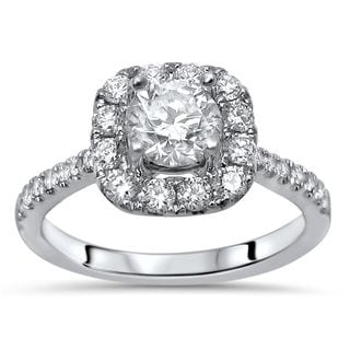 Noori 18k White Gold 1ct TDW Clarity-enhanced Halo Round Diamond Engagement Ring - White G-H
