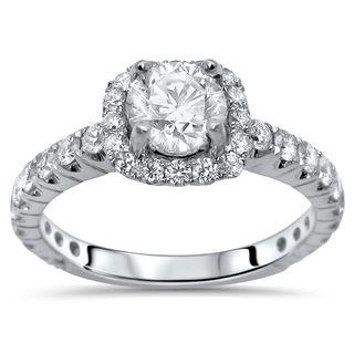 Noori 18k Gold 1 1/6ct TDW Clarity-enhanced Halo Round Diamond Engagement Ring - White G-H