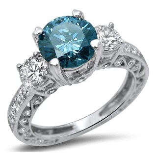 Noori 18k White Gold 2ct Diamond Blue 3-Stone Round Engagement Ring (More options available)