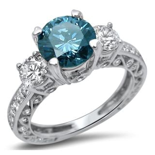 Noori 18k White Gold 2ct Diamond Blue 3-Stone Round Engagement Ring (SI1-SI2)