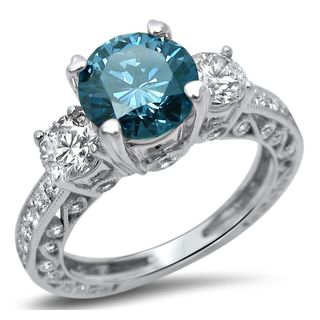 Noori 18k White Gold 2ct Diamond Blue 3-Stone Round Engagement Ring