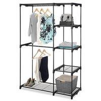 Whitmor Freestanding Double Potable Rod Wardrobe Organizer with 5 Shelves