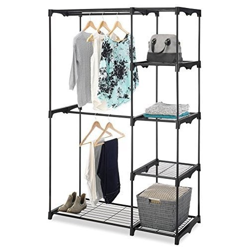 Whitmor Black Double-rod Freestanding Closet Organizer