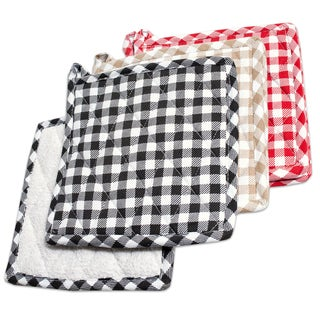 Cotton Quilted Gingham Pot Holders with Terry Cloth Lining (Set of 2)