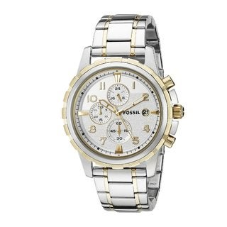 Fossil Men's FS4795 Dean Chonorgraph Silver Dial Two-Tone Stainless Steel Bracelet Watch
