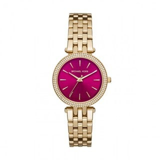 Michael Kors Women's MK3444 Mini Darci Diamond Pink Dial Gold-Tone Stainless Steel Bracelet Watch