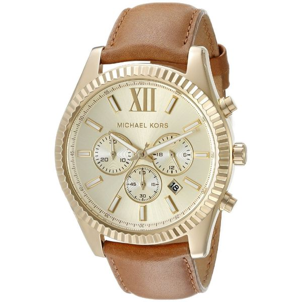 18660abc1a27 Michael Kors Men  x27 s MK8447 Lexington Chronograph Gold Dial Brown  Leather Watch