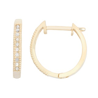 Gioelli 10k Gold .1ct TDW Diamond Round Cut Hoop Pave Earrings (I-J/I2)