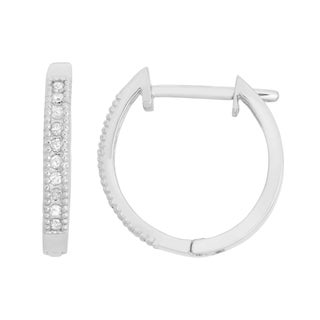 Gioelli 10k White Gold .1ct TDW Diamond Round Cut Hoop Pave Earrings (I-J/I2)