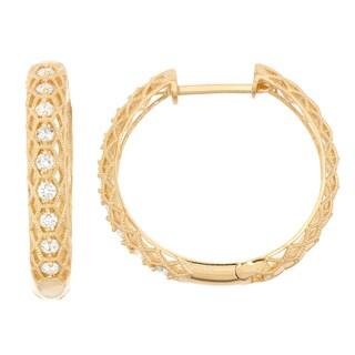 Gioelli 10k Gold .72ct TDW Diamond Round Cut Channel-set Hoop Earrings (I-J/I2)