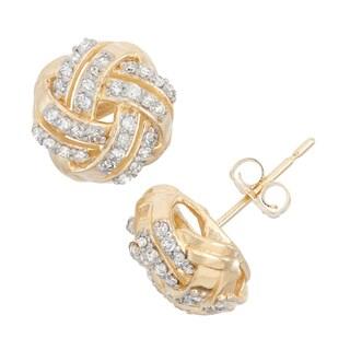 Gioelli 10k Gold .32ct TDW Diamond Round Cut Love Knot Stud Earrings