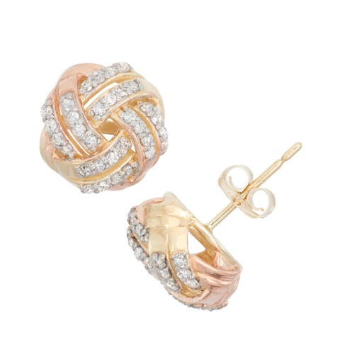 Gioelli 10k Gold .32ct TDW Diamond Tri-Colored Round Cut Love Knot Stud Earrings