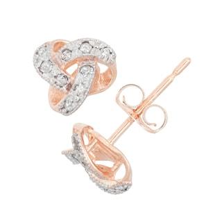 Gioelli 10k Gold .09ct TDW Diamond Round Cut Petite Love Knot Stud Earrings (I-J/I2)