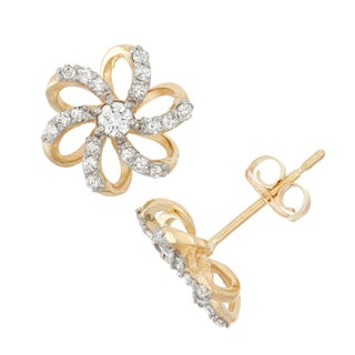 Gioelli 10k Gold .28ct TDW Diamond Round Cut Flower Stud Earrings