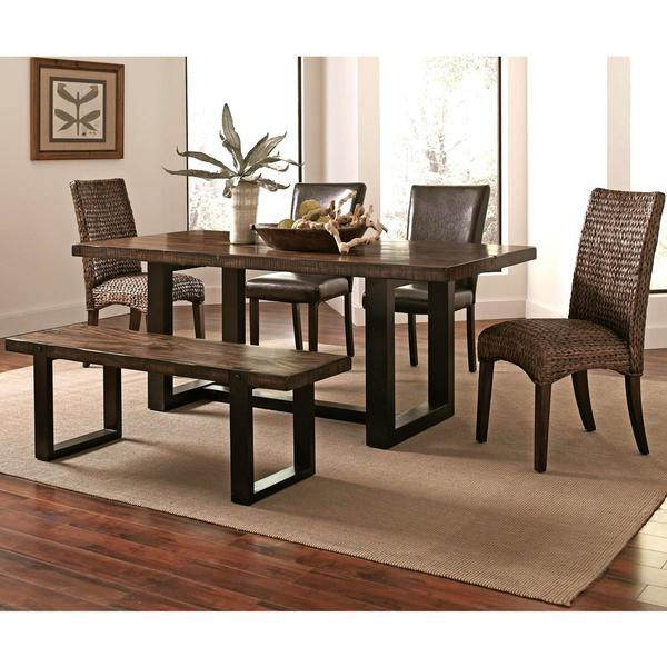 Mahogany Two-tone Vintage Block Design Dining Set